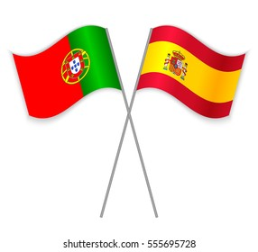 Portuguese and Spanish crossed flags. Portugal combined with Spain isolated on white. Language learning, international business or travel concept.