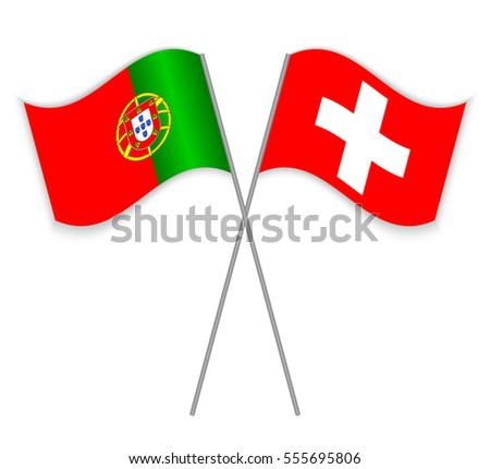 329b6169fe Portuguese and Swiss crossed flags. Portugal combined with Switzerland  isolated on white. Language learning