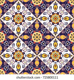 Portuguese tile pattern seamless vector with flower ornaments. Portugal azulejo, mexican talavera, italian or spanish majolica motif. Tiled texture for kitchen tablecloth or bathroom flooring ceramic.