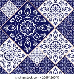 Portuguese tile pattern vector with blue and white ornaments. Portugal azulejo, mexican talavera, spanish or italian majolica. Tiled texture for kitchen or bathroom flooring ceramic background.