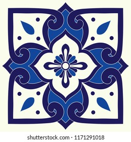 Portuguese tile pattern vector element with blue and white ornament. Portugal azulejos, italian sicily majolica, mexican talavera, spanish ceramic motifs. Mosaic texture for kitchen or bathroom floor.