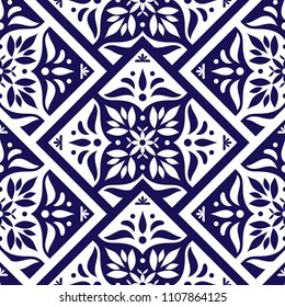 Portuguese tile pattern vector with scale blue and white mosaic ornament. Portugal azulejo, mexican talavera, spanish or italian majolica. Tiled texture for kitchen wall or bathroom flooring ceramic.