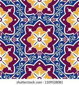 Portuguese tile pattern vector with scale mosaic ornament. Portugal azulejo, mexican talavera, moroccan arabic, spanish, italian majolica. Tiled texture for kitchen wall or bathroom flooring ceramic.