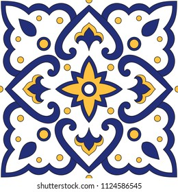 Portuguese tile pattern vector seamless element with blue and yellow ornaments. Portugal azulejos, mexican talavera, italian sicily majolica. Tiled texture for kitchen mosaic or bathroom floor.