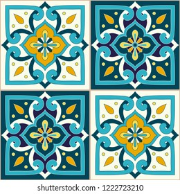 Portuguese tile pattern vector seamless with ornaments. Portugal azulejos, mexican talavera, italian majolica or spanish ceramic motifs. Design for wallpaper, kitchen wall or bathroom floor.