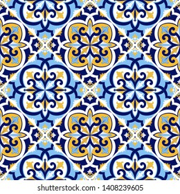 Portuguese tile pattern vector seamless with mosaic motifs. Sicily italian majolica, portugal azulejos, mexican talavera, venetian and spanish ceramic. Background for kitchen wall or bathroom floor.