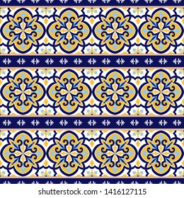 Portuguese tile pattern vector seamless with vintage border ornament. Portugal azulejos, mexican talavera, italian sicily majolica or spanish ceramic. Background for kitchen wall or bathroom floor.