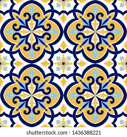 Portuguese tile pattern vector seamless with flowers motifs. Sicily italian majolica, portugal azulejos, mexican talavera, venetian and spanish. Vintage background for kitchen wall or bathroom floor.