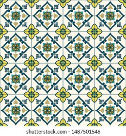 Portuguese tile pattern vector seamless with green ceramic motifs. Portugal azulejos, mexican talavera, spanish, italian majolica or moroccan ornament. Mosaic texture for wallpaper or kitchen floor.
