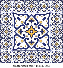 Portuguese tile pattern vector with vintage floral ornaments. Mosaic texture tiled element in center with frame. Azulejos, mexican talavera, spanish ceramic, italian sicily majolica, moroccan motifs.