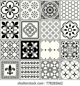 Portuguese tiles pattern, Lisbon seamless black and white tiles, Azulejos vintage geometric ceramic design.