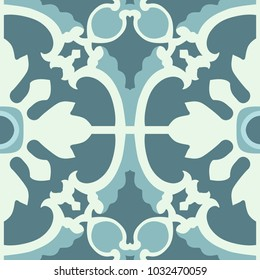 Portuguese tiles pattern. Vintage background. Vector texture. Beautiful colored pattern for design and fashion with decorative elements