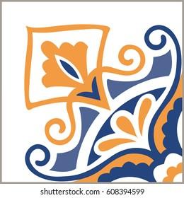 Portuguese tiles pattern. Vintage background - Victorian ceramic tile in vector