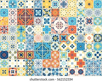 Portuguese tiles. Vector illustration of Azulejo on white background. Mediterranean style. Multicolor design.