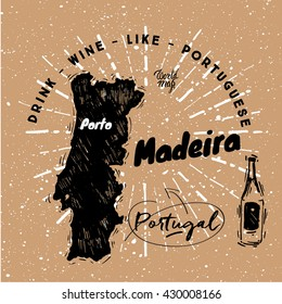 Portuguese traditional wine with graphic elements on the map of Portugal. Paper background