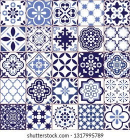 Portuguese vector Azulejo tile seamless pattern, Lisbon retro old tiles mosaic, Mediterranean repetitive navy blue textile design 	 Ornamental pretty background inspired by Spanish tile art