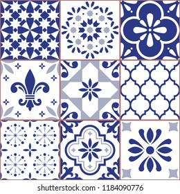 Portuguese vector tile seamless pattern, Azluejo tiles mosaic in navy blue, abstract and floral designs. Ornamental textile background inspired traditional tiles from Spain and Portugal