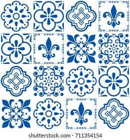 Portuguese vector tiles pattern, Lisbon seamless indigo blue tile design, Azulejos vintage geometric ceramics. Floral and abstract texture set, repetitive background inspired by traditional art
