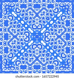 Portuguese vintage azulejo tiles. Vector seamless pattern flyer. Colored design. Blue antique background for pillows, print, wallpaper, web backdrop, towels, surface texture.