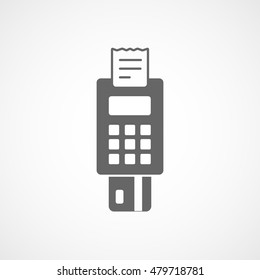 POS Credit Card Terminal Flat Icon On White Background