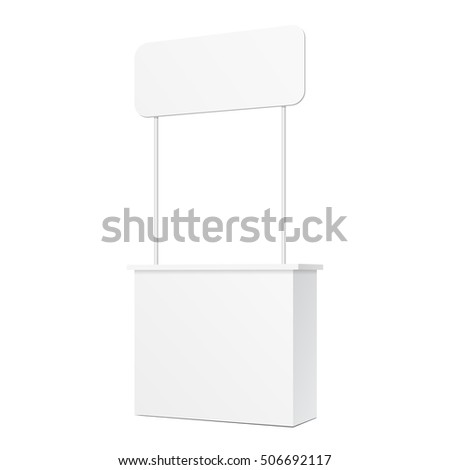 POS POI Blank Empty Promotion Counter Retail Stand Stall Bar Display With Banner On White