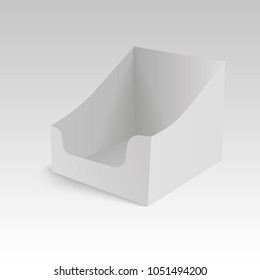 POS POI cardboard blank empty display show box holder. Vector mock up