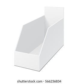POS POI Cardboard Blank Empty Display Show Box Holder For Advertising Fliers, Leaflets, Products. Illustration Isolated On White Background. Mock Up Template Ready For Your Design. Vector EPS10
