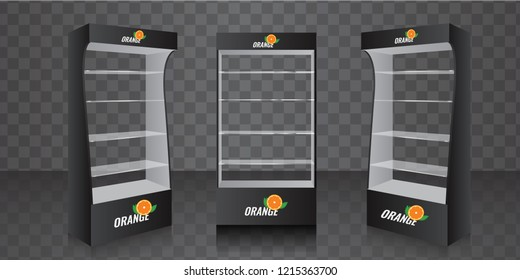 POS POI Cardboard Glass Floor Display Rack For Supermarket. Empty Glass Shelves. Vector illustration.