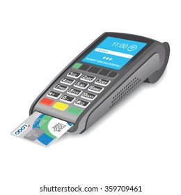 POS Terminal with a bank card on a white background