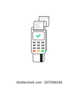 POS terminal. Terminal for bank card. Vector illustration in flat line style