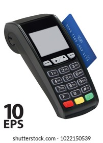 Pos terminal with card isolated. Paying with credit card. Vector 3d illustration