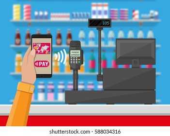 Pos terminal confirms payment by smartphone. Supermarket interior. Cashier counter workplace. Shelves with products. Cash register and keypad. Vector illustration in flat style