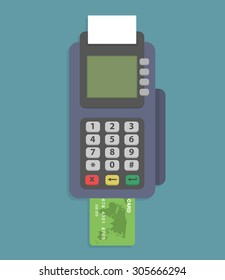 Pos terminal. Credit card reader machine with credit card. Flat style