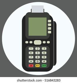 POS terminal flat vector icon.