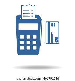 pos terminal icon. payments methods. Processing of mobile payment, Flat icon, One of set web icons. eps 10.