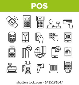 POS Terminal, Mobile Payment Vector Linear Icons Set. POS, Cashless E-Payment Machine Outline Symbols Pack. Financial Transaction, Billing System. Banking And Finance Isolated Contour Illustrations