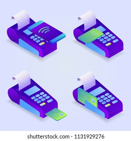 POS terminal payment methods, online payment. Confirms the payment by credit card, mobile phone. Isometric NFC payment concept in flat design. Vector illustration