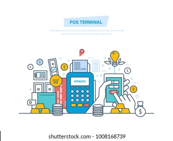 Pos terminal, payments systems. Financial transactions, cashless operation on paymentwith smartphone. Bank card, terminal for buying process, gold coins. Illustration thin line design.