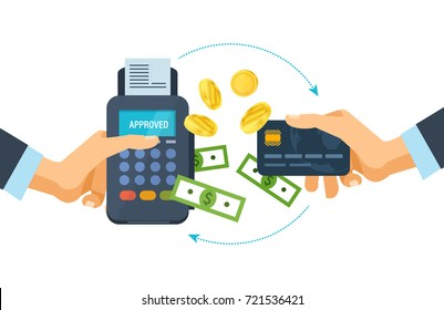 Pos terminal and payments systems. Financial transactions. Hand hold a bank card and payment terminal for the successful payment process. Credit card payment at pos terminal. Vector illustration.
