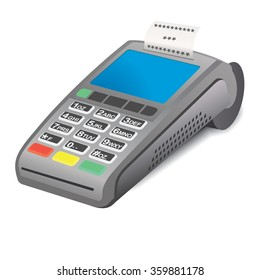 POS terminal with printed receipt on white background. POS terminal withprinted receipt - 3D illustration. Printed receipt and pos terminal. Interactive Information Pos Kiosk.