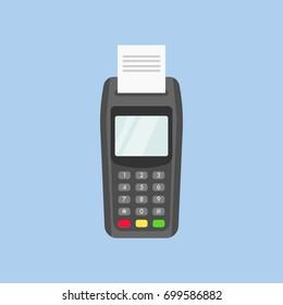 POS terminal printing receipt detailed flat illustration.