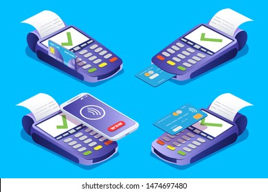 Pos terminal set, vector isometric illustration. Payment terminals with tick marks on screens, credit cards, smartphone and transaction receipt. Successful contactless payments, nfc, online banking.