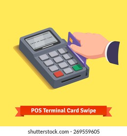 POS terminal transaction. Hand swiping a credit card. Flat style vector icon.