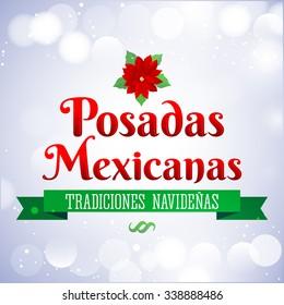 Posadas Mexicanas - Christmas Lodging spanish text - Posadas is a Mexican traditional christmas celebration - holiday emblem