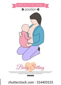 Pose for breastfeeding. Vector illustration