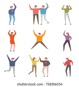 Pose characters who are cheerful and cheerful people support vector illustration flat design