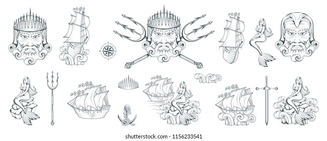 Poseidon - Ancient Greek supreme sea god. Greek mythology. Neptune trident. Olympian gods collection. Hand drawn Man Head. Bearded man. Vector graphics to design