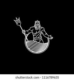 poseidon god greek lineart black vector