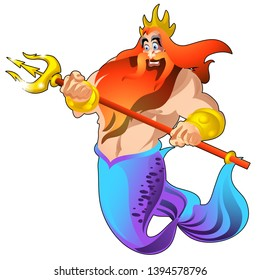 Poseidon with a golden trident and a crown isolated on white background. Vector cartoon close-up illustration.