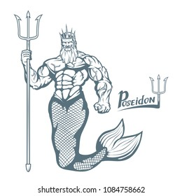 Poseidon. Hand drawn poseidon. Neptune head. Fantasy world. Vector artwork.